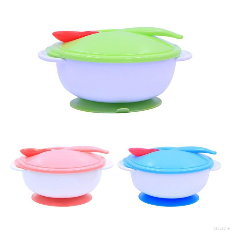 HOT Bamboo Baby Anti Spill Bowl Universal Kids Feeding Spoon Bowl Tableware Set