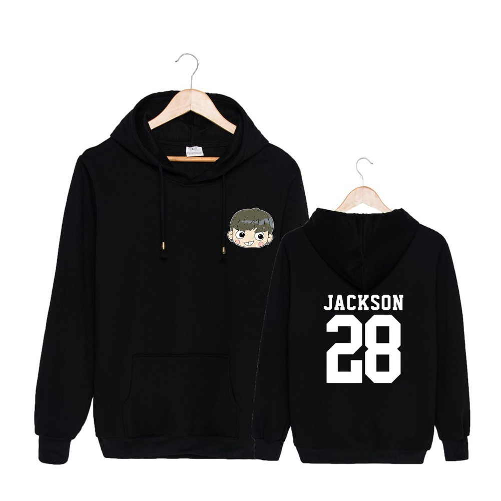 Kpop Got7 Jb Jr Jackson Unisex Cotton Pullover O-neck Sweatshirt Women/men Hoodies Jacket With Hat Autumn Outerwear Women's Clothing