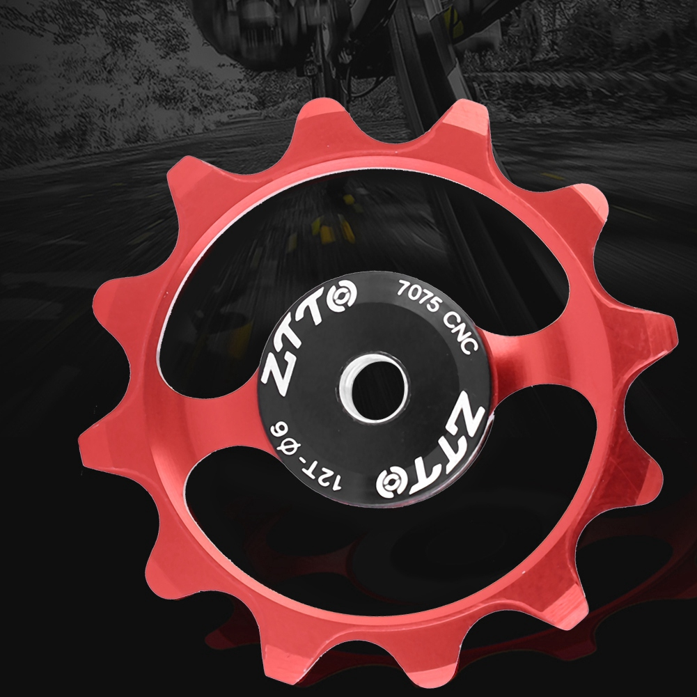 Bike Ceramic Bearing Jockey Wheel Bicycle Rear Derailleur Pulley 12T Red