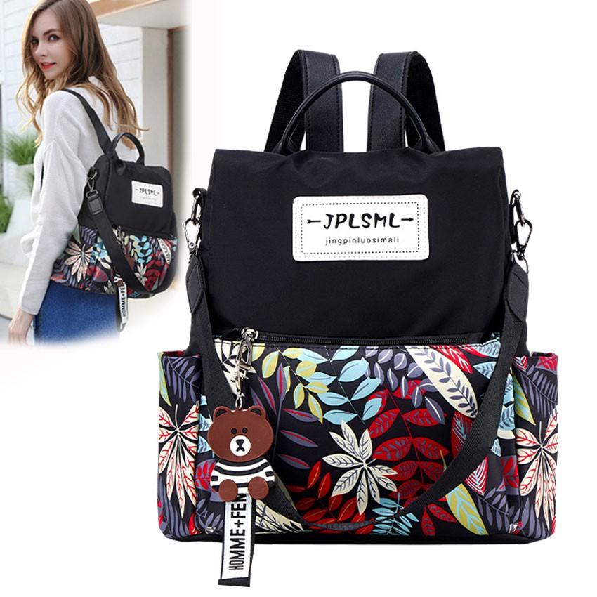 Womens Color Collision Backpack Waterproof Canvas School Bag Tote Travel Satchel