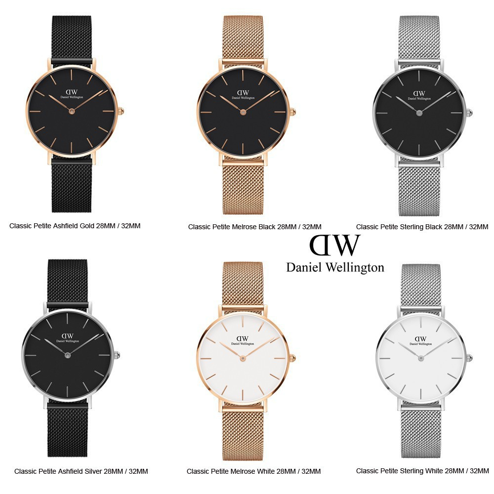 384235981584 Daniel Wellington DW Women Petite Ashfield Melrose Sterling Watch (White Black)