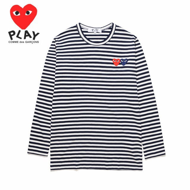 3a4e54e6b43 COMME des Garcons CDG Play Pure Cotton Long Sleeve Shirts Soft All-match  Summer Women Couple Stripe Casual Classic Tops