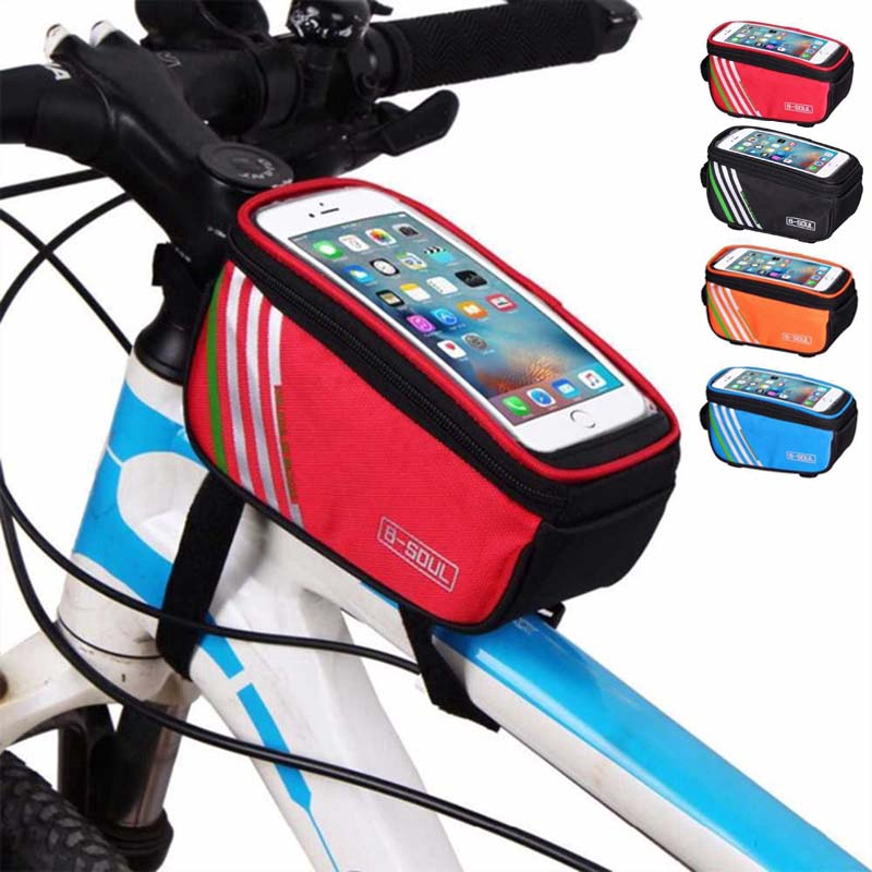 Cycling Bike Bag Waterproof MTB Road Bicycle Frame Front Tube 5.0 inch Mobile Phone Touch Screen Bag Bike Bicycle Accessories