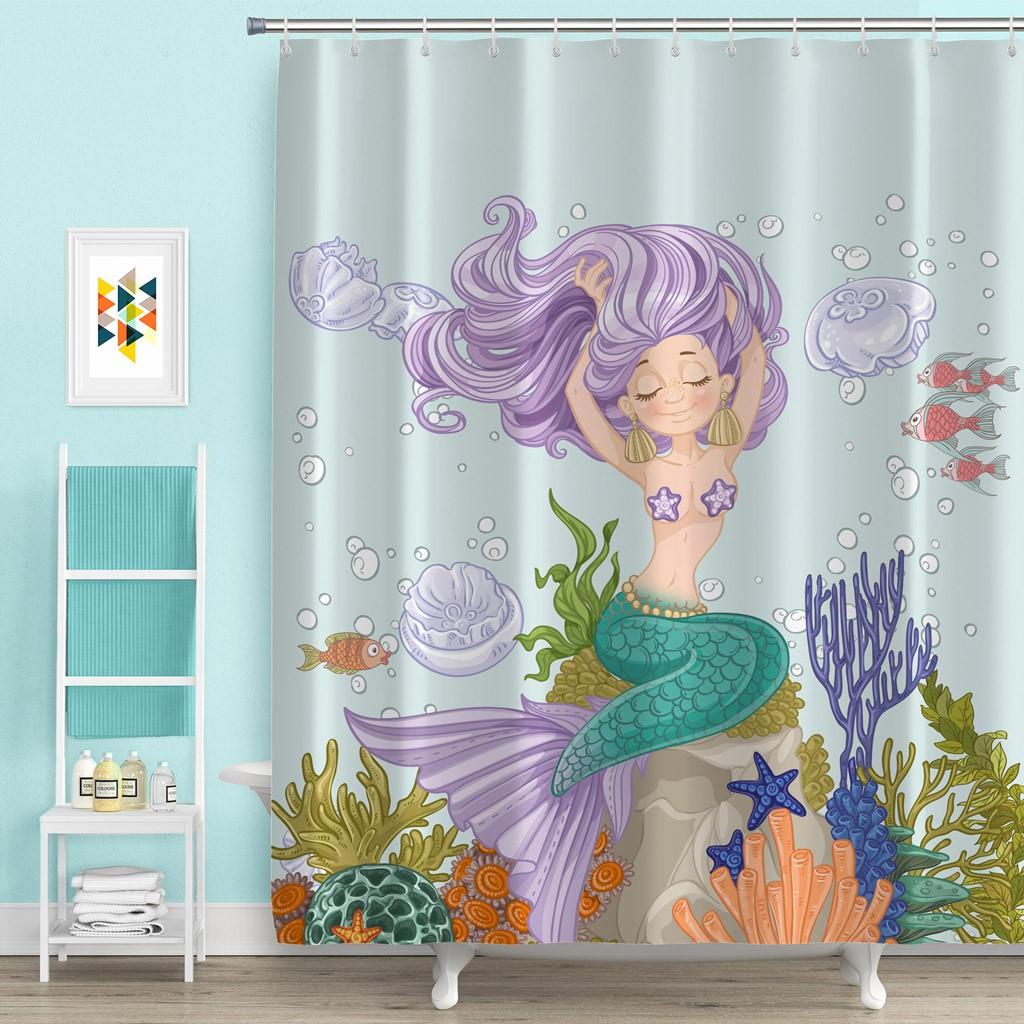 Beautiful Mermaid Polyester Fabric Bathroom Bath Shower Curtain With 12 Hooks