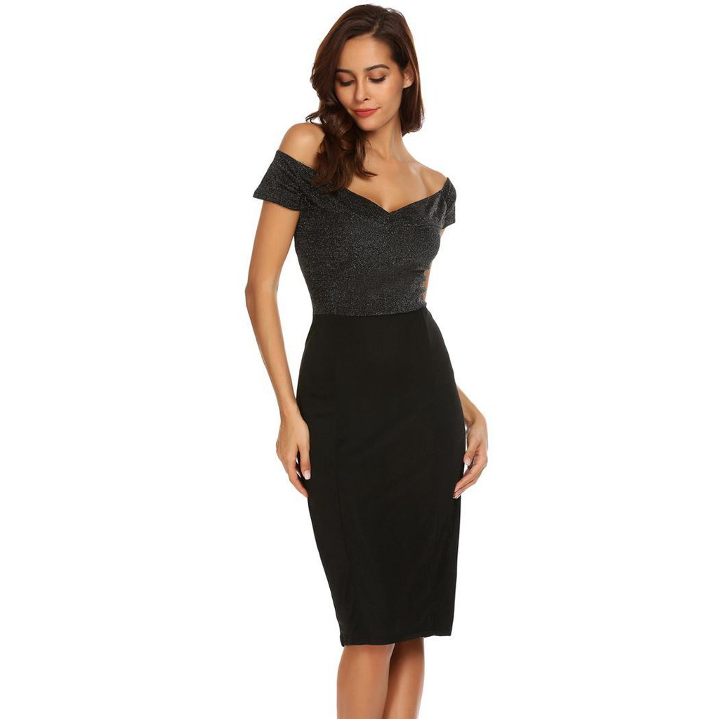 b6f4bd9a20533 Women Sexy Short Sleeve Off Shoulder Shinny Patchwork Bodycon Pencil Dress