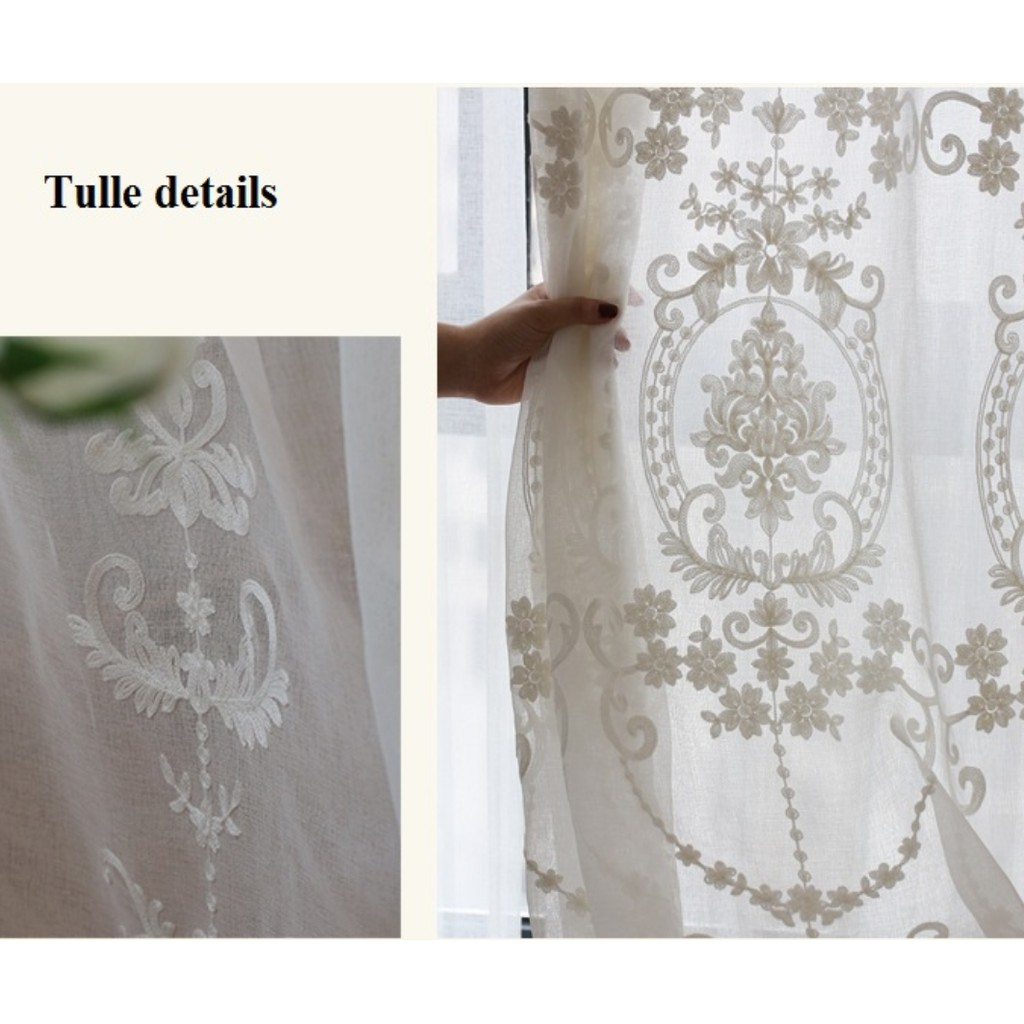 Country Embroidery Ivory Net Lace Tulle Voile Sheer Kitchen Curtain Tier Valance