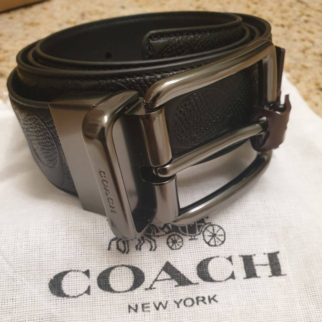 b10288809089 Coach Modern Harness Cut-To-Size Reversible Smooth Leather Belt (F59116)  Black