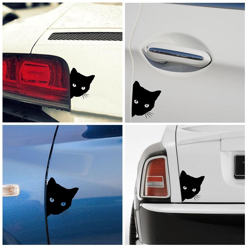 Cat Face PEERING Funny Car Decal Window Truck Auto Bumper Wall Sticker Accessory