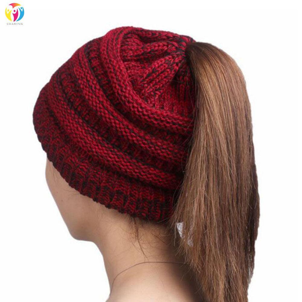29bc06979b8 ProductImage. Women s Knitted High Bun Stretchy Beanie Ponytail Hat Winter  Warm Ski Cap