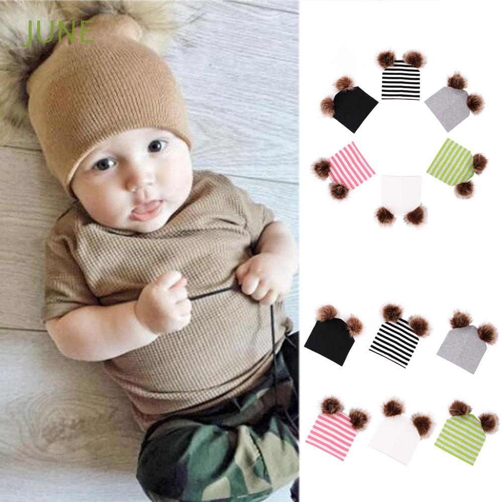 af17f21d4 Children's Hats Striped Pompom Winter Warm Hat Cotton Baby Cap