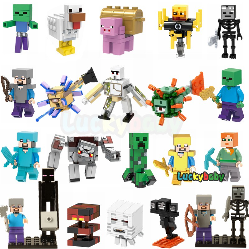 Minecraft Building Blocks Lego Minifigures Steve Alex Iron Golem Ghast Zombie DIY Assemble Kids Toys Gifts