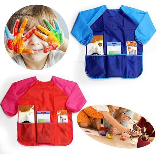 Baby Kids Waterproof Sleeve Burp Cloths Bibs Feeding Smock Painting Anti-pigment