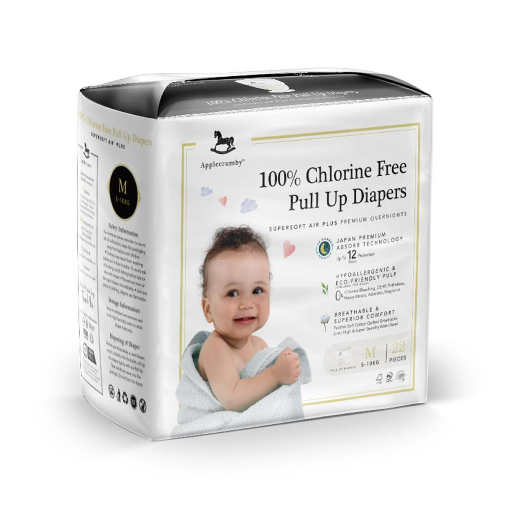 Applecrumby 100% Chlorine Free Pull Up Diapers M (5-10kg) 22 Pcs x 6 packs