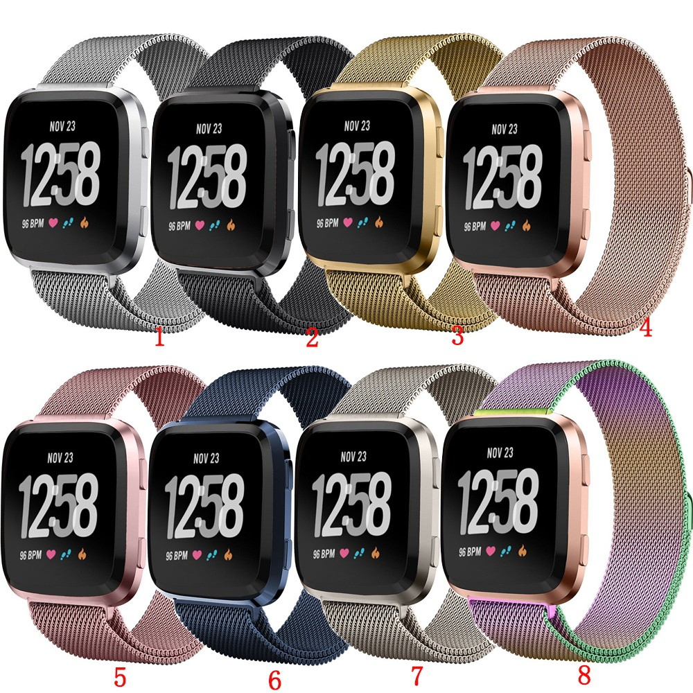 Milan Nice Magnetic Loop Stainless Steel Band Strap for Fitbit Versa Smart  Watch