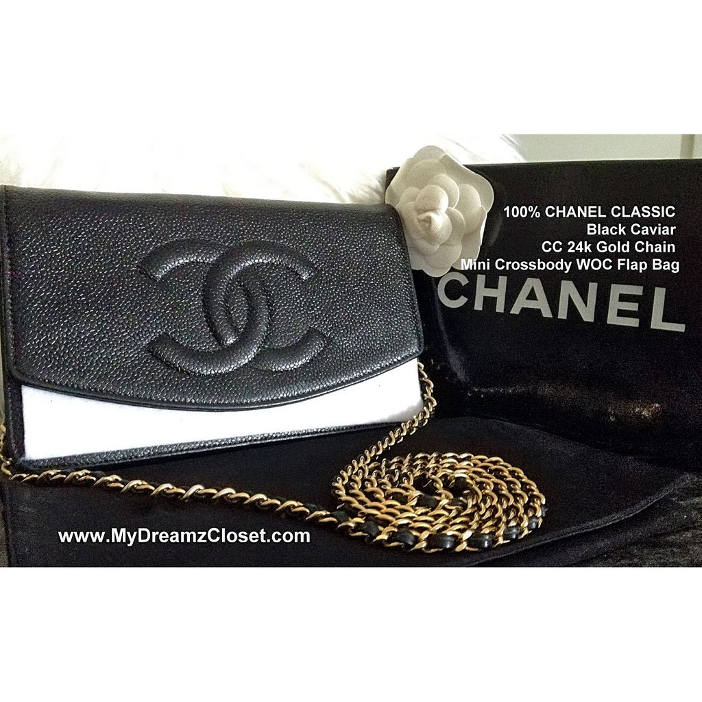 667dcc499e49 100% CHANEL CLASSIC Black Caviar CC 24k Gold Chain Mini Crossbody WOC Flap  Bag
