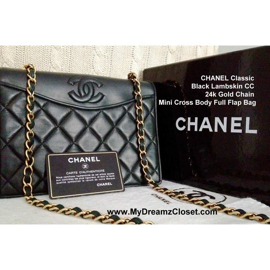 0de3585db945 100% CLASSIC CHANEL Black Quilted Lambskin 24K Gold Chain Medium Double  Flap Bag