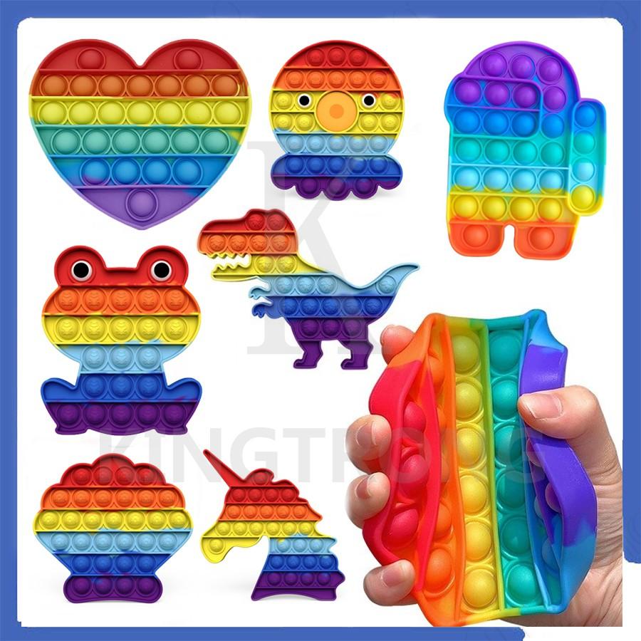 【24h Shipped】Push Pop Bubble Fidget Kids Sensory Foxmind Pop It Colourful Unicorn Rainbow Shrimp Crab Dinosaur Fidget Toys