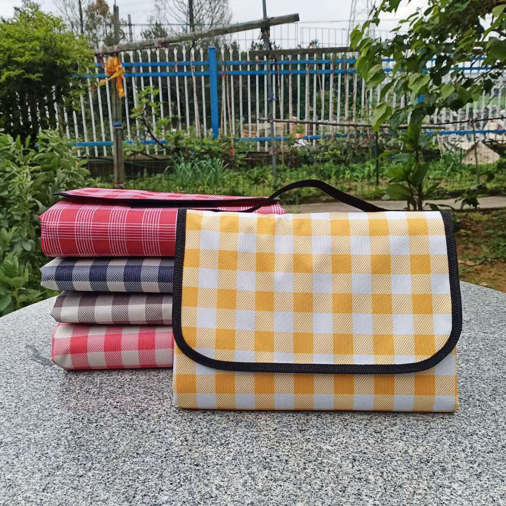 Ins Wind Red And White Plaid Picnic Mat Thick Outdoor ...
