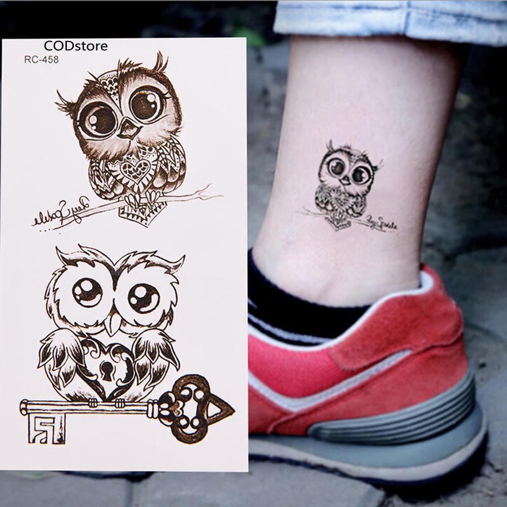 Cst Waterproof Cartoon Owl Cute Temporary Decal Fake Tattoo Sticker Body Art Decor Shopee Singapore