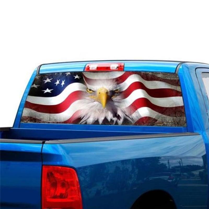 USA Eagle Flag Star Printed Windshield Banner Wrap Vinyl Sticker Car Truck