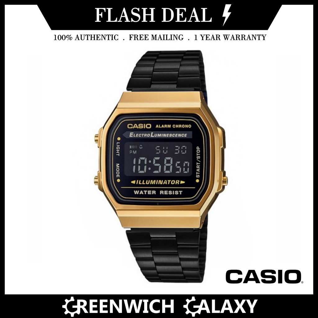 fcf599364 Casio Authentic Vintage Black x Gold Watch (A168WEGB-1BE) | Shopee Singapore