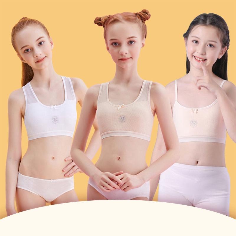 Cotton Soft Teenage Girls Underwear Bras / Sports Puberty Girl Bra Young  Students Sport Training Bra / Wireless Thin Padded First Bra | Shopee  Singapore