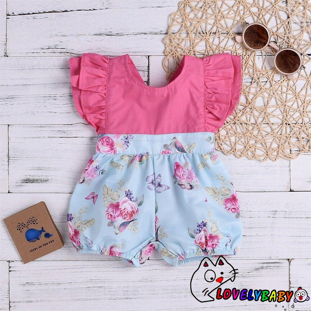 Newborn Baby Girl Summer Ruffle Floral Romper Bodysuit Jumpsuit Outfits Clothes