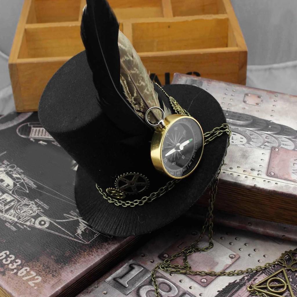 Steampunk Gears Clip Mini Top Hat Victorian Women Girl Costume Feather Dress Cap