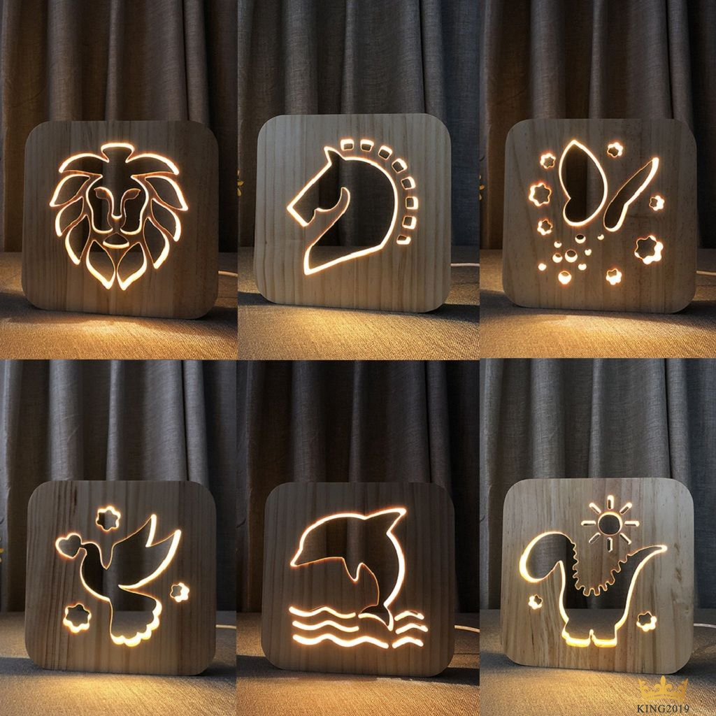 Ready Led Wooden Table Lamp Bedroom Night Light Creative Hollow Carving Gift Lamp King2019 Sg Shopee Singapore