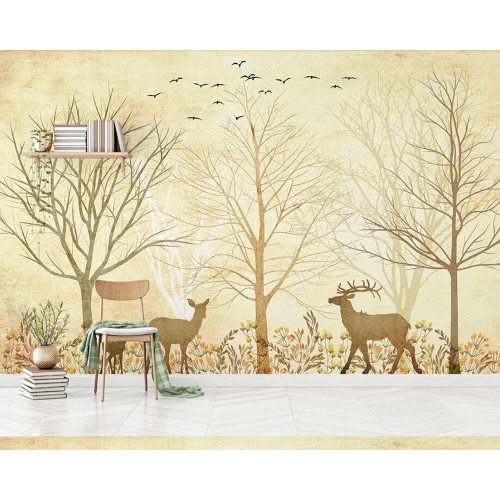 Papel De Pared Nordic Abstract Elk Big Tree Bird Retro