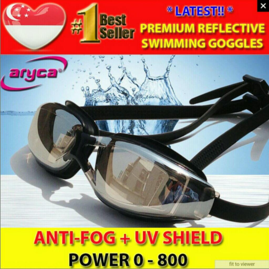 fc0bde63a64 Aryca Reflective Optical Prescription Normal Vision Swimming Goggles UV  Protect