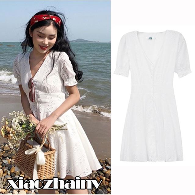 f3589a3f3176f Xiaozhainv✨Women V-neck Fashion Short Sleeve White Mini Dress