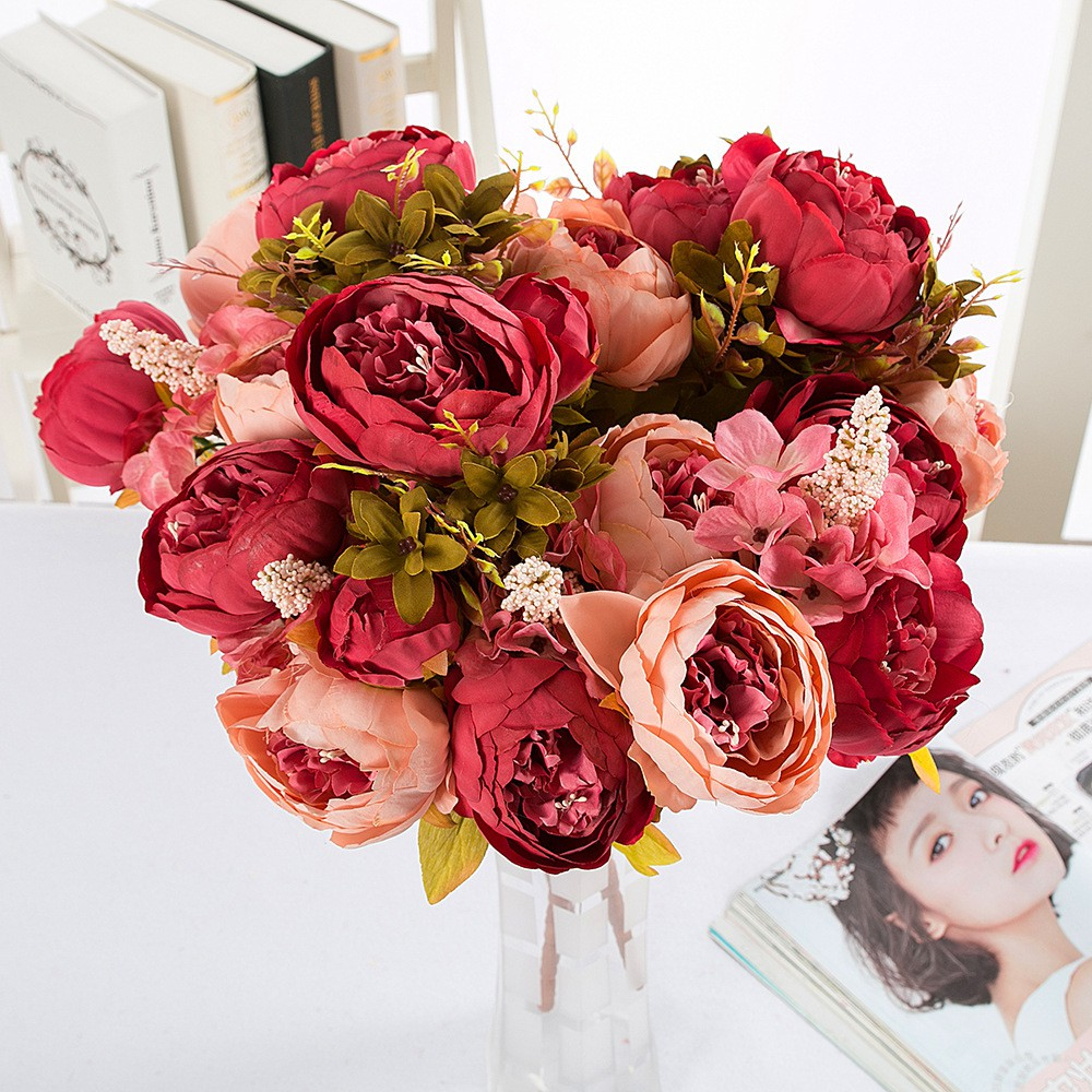 1 Bouquet 13 Heads Artificial Peony Silk Flower Fake Plant For Wedding Party Home Christmas Festival Furniture Decoration Shopee Singapore