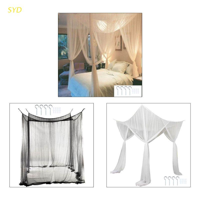 Syd Mosquito Net Canopy 4 Corner Post, Queen Size Canopy Bed With Curtains