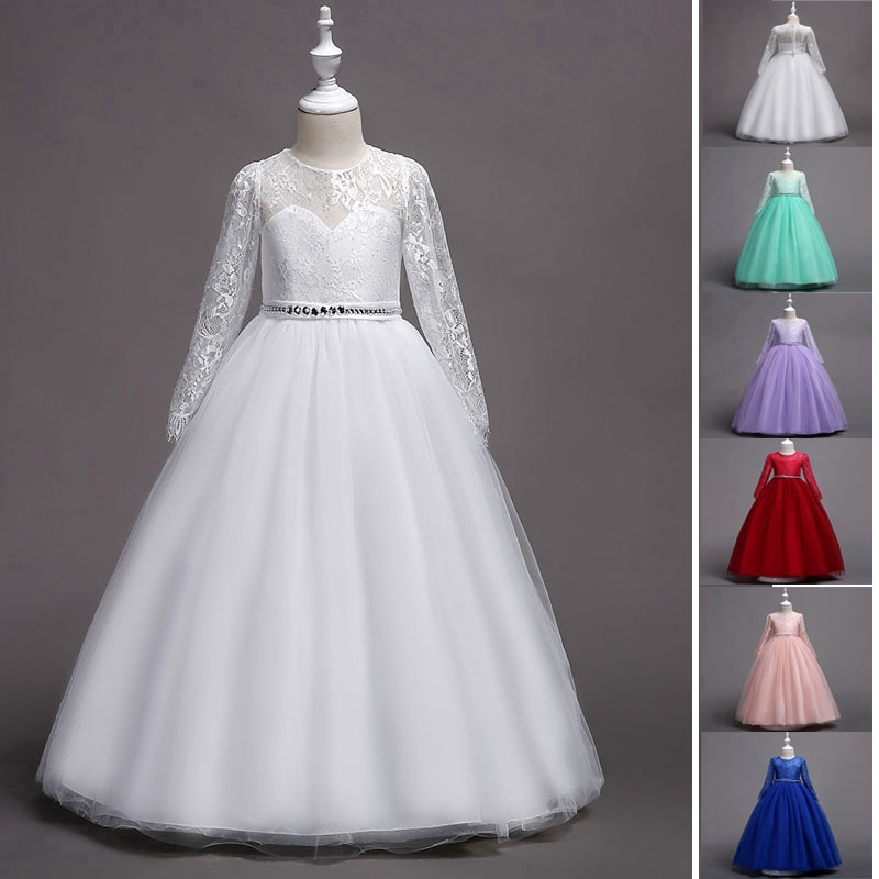 Girls Party Dresses Formal Long Sleeve Lace Kids Wedding Dress Fit 4 14 Yrs Old