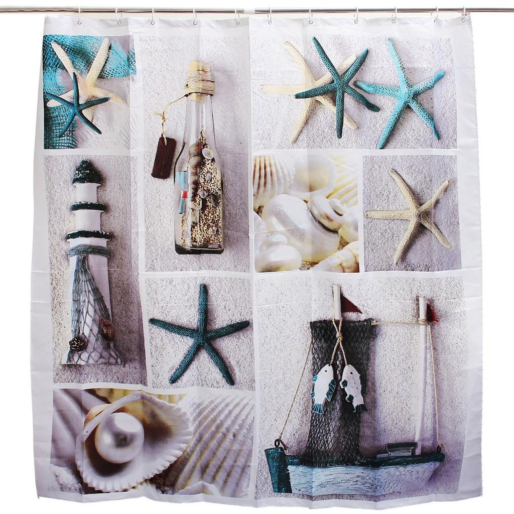 Good 150x180cm Fabric Seashell And Sandy Beach Sea World Bathroom Shower Curtain