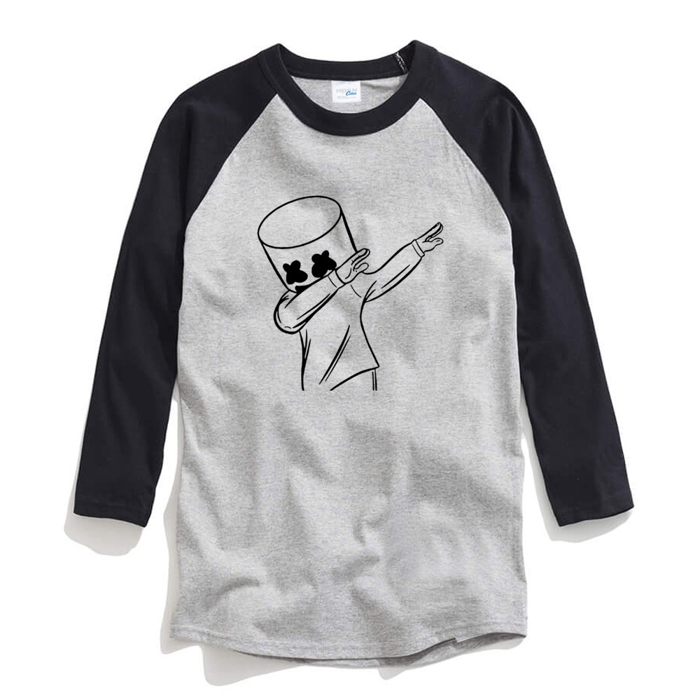 Marshmello Male Long Sleeves T Shirt Crew Neck Baseball Shirt Raglan Tees