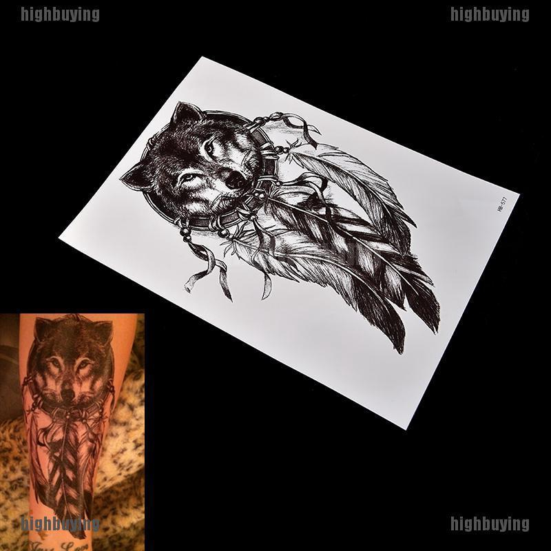 Waterproof Wolf Dreamcatcher Temporary Tattoo Large Arm Body Art Tattoos Sticker Shopee Singapore