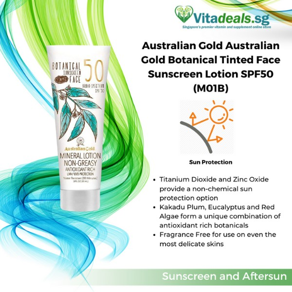 Australian Gold Botanical Sunscreen Tinted Face Mineral Lotion Spf 50 3 Ounce Broad Spectrum Water Resistant Shopee Singapore