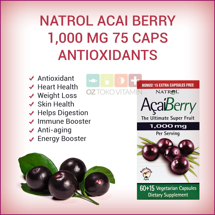 Natrol ACAI BERRY DIET/ Green Tea Super Foods 60 Capsules. | Shopee Singapore