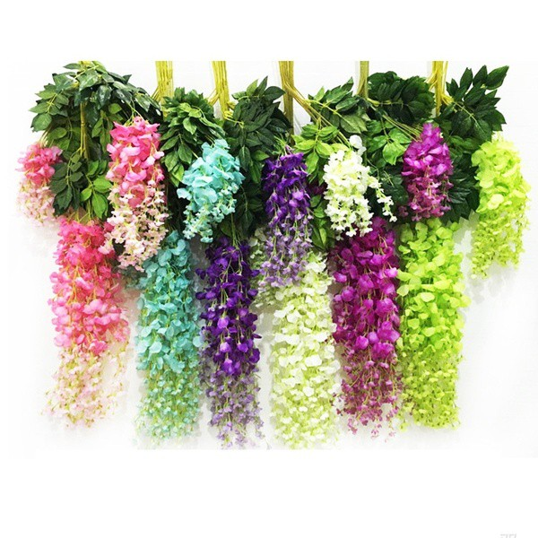 4Pcs Purple Simulation Wisteria Flower Leaf Vine Silk Wedding Flower Decoration