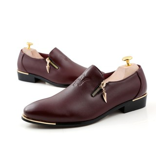 good latest fashion to buy Ready Stock Men's Genuine Leather Business Breathable Formal Zip Shoes