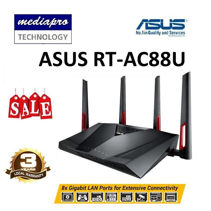 ASUS RT-AC88U AC3100 MU-MIMO Dual-Band Wi-Fi Gigabit Router w/8 Gigabit LAN  port