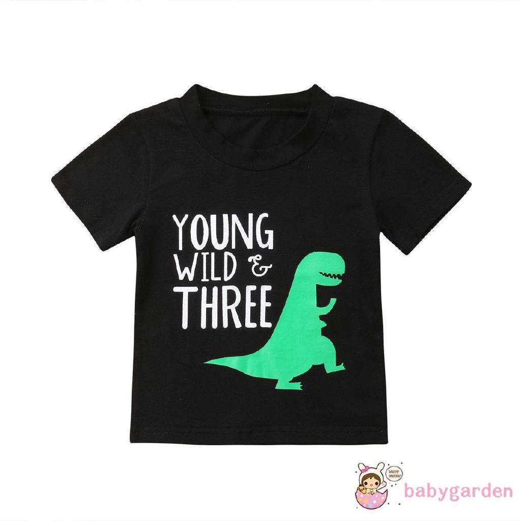 Baby Kids Boys Dinosaur Casual Shirt Cartoon Wild Short-sleeved Tops Shirt UK