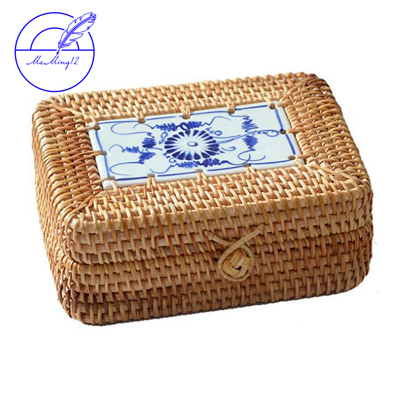 Rattan Woven Storage Box With Lid