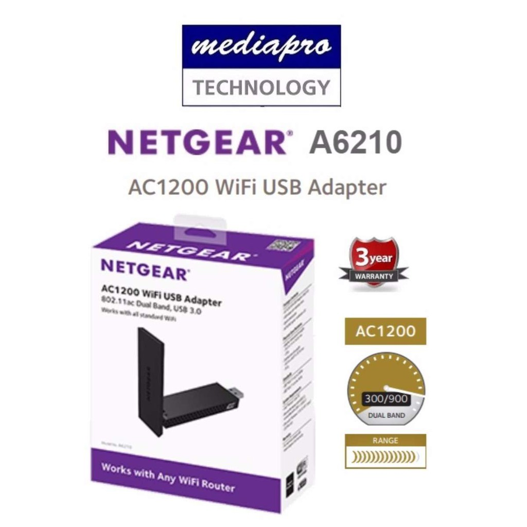 Netgear A6210 AC1200 WiFi USB Adapter - 3 Year Local Netgear Warranty