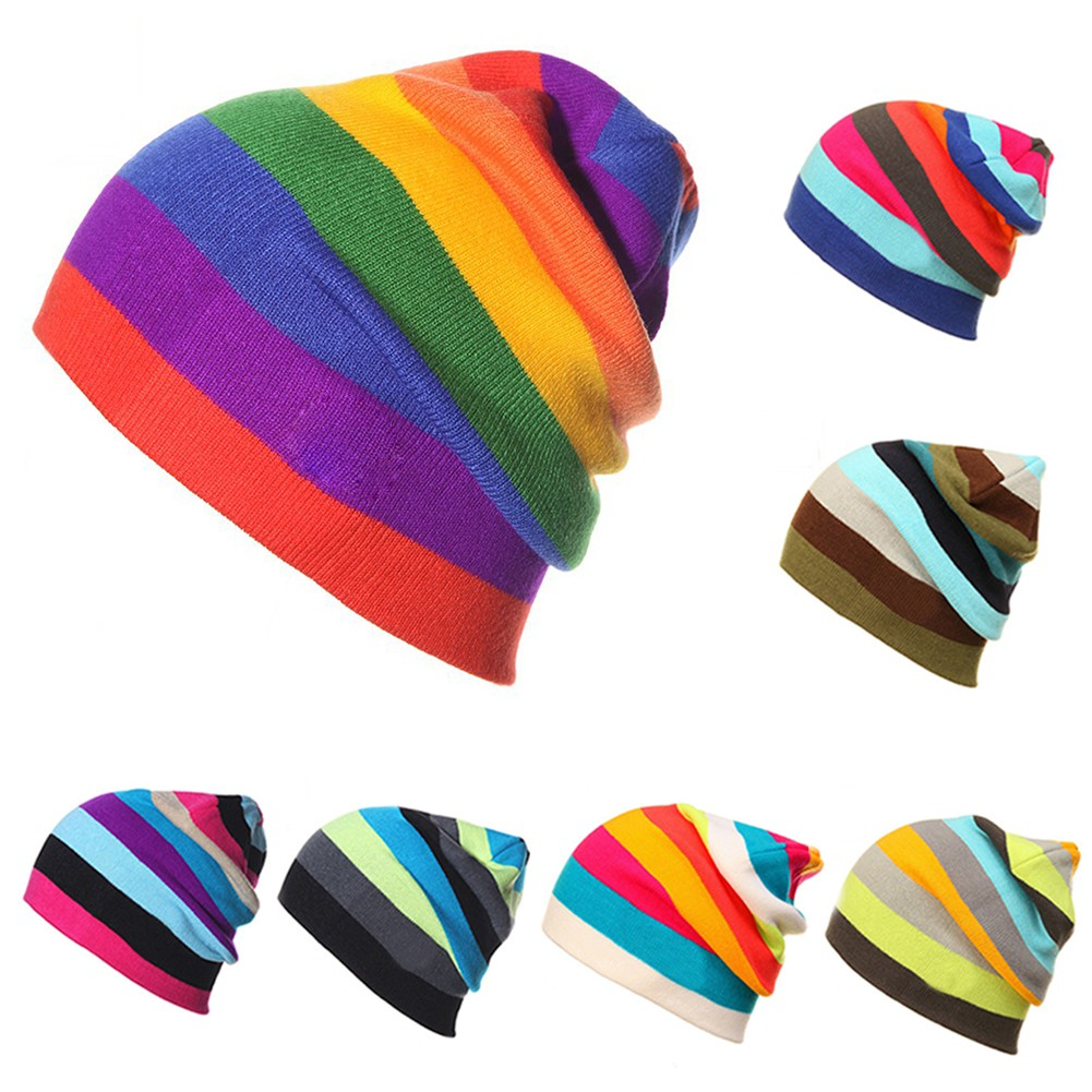 1cd38c27274 Winter Men Women Rainbow Color Beanie Hat Knitted Riding Skating Hats