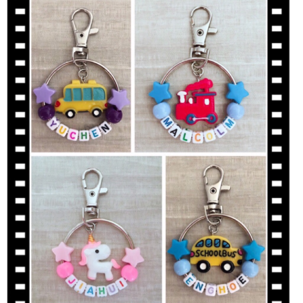 Personalised Keychain with Charm Novelty / Resin Charm / Bag tag / DIY gift / Customised Bag Tag