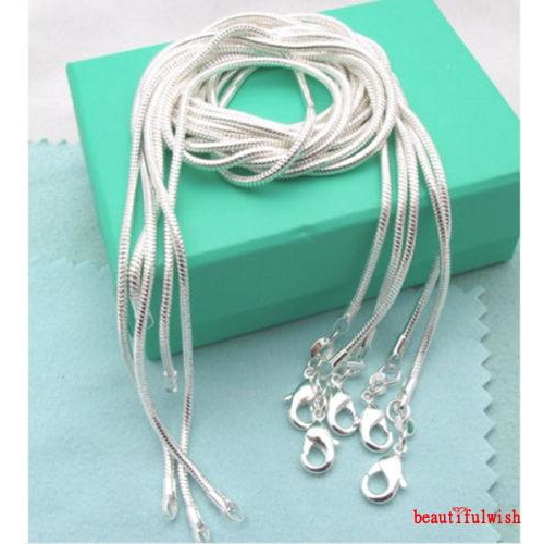 WHOLESALE 5PCS 1MM SOLID 925 STERLING SILVER JEWELRY SNAKE CHAIN NECKLACE