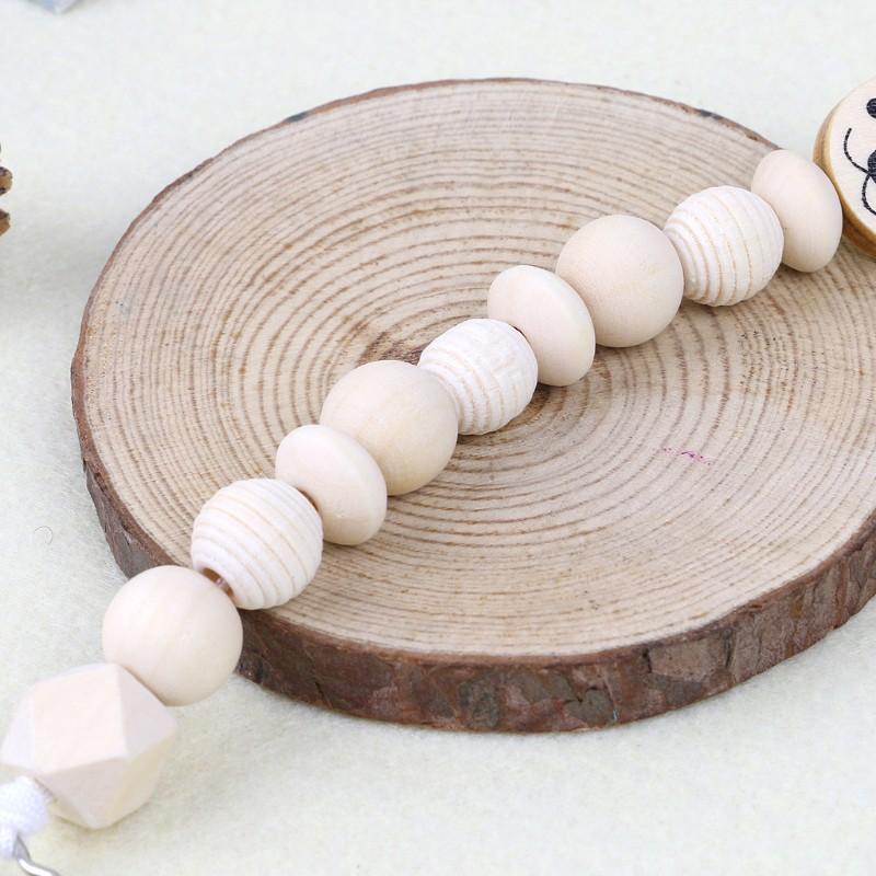 Baby Dummy Wood Chain Pacifier Clip Bear Head Bead Dummy Clip Infant Teether Toy